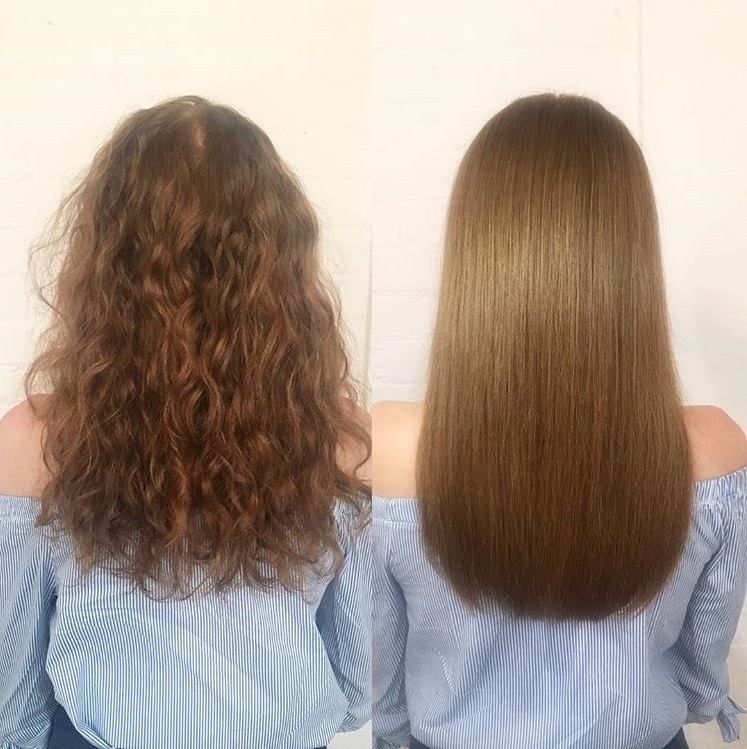 before and aftter 72 hair smoothing treatment
